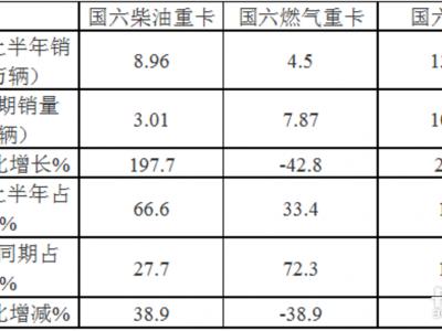 东风夺冠 上半年国六重卡市场特点分析